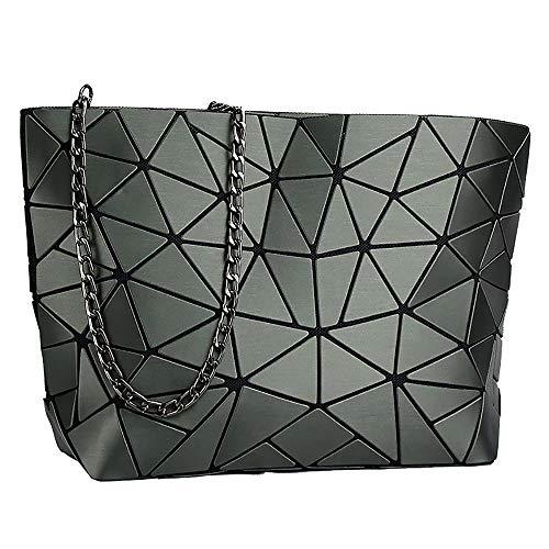 whatUneed Sac à bandoulière géométrique en treillis géométrique pour femmes, en cuir PU Casual Cross-body Messenger Bag pour les filles