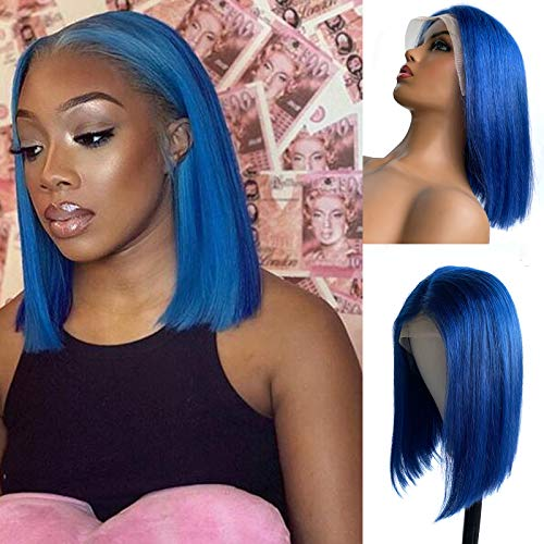 Licoville Blue Bob Wigs Human Hair Pre Plucked 13x4x1 Lace Wig T Part Silky Straight Short Colored Bob Cut Hairstyles 10 Inch with 180% Density