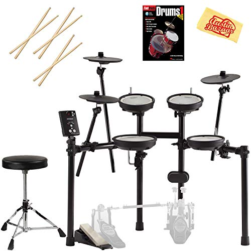 Roland V-Drums TD-1DMK Drum Set Bundle with Drum Throne, Drum Sticks, Fast Track Drum Book, and Austin Bazaar Polishing Cloth