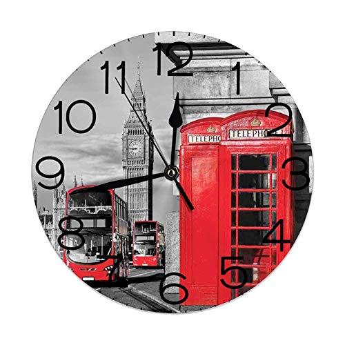 GoodLucke Orologio da Parete Decorativo per la casa, Londra, Londra Cabina telefonica in Strada Icona culturale Locale Tradizionale Inghilterra Regno Unito Retro, Rosso Grigio