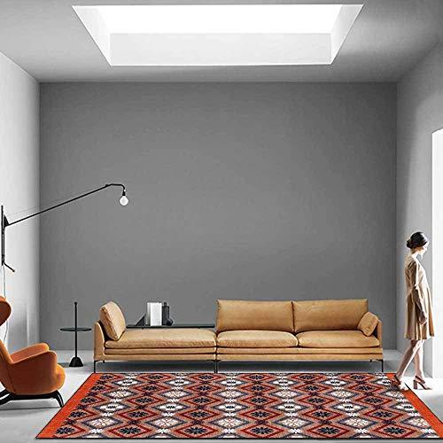 makeups1 Alfombra Moderna Diseño Tapete Naranja geométrica de Estilo étnico Antideslizante fácil de Limpiar Tapete para Dormitorio,Comedor,Habita 120x160CM (3ft11 x5ft3)