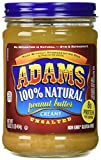 Adams 100% Natural CREAMY UNSALTED Peanut Butter 16oz (2 Pack)