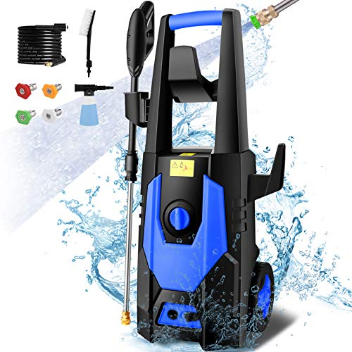 mrliance 3600PSI Electric Pressure Washer 2.6GPM Power Washer 1800W High Pressure Cleaner Machine with 4 Nozzles,Hose Reel, Foam Cannon Brush,Best for Cleaning Patio, Garden, Fences, Vehicle(Blue)