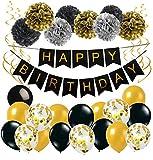Geburtstag Deko Happy Birthday Girlande Spiralen Deko Pompoms und Luftballons Gold Schwarz mit Gold Konfetti Ballons für Geburtstag Partydeko set 32 Stück