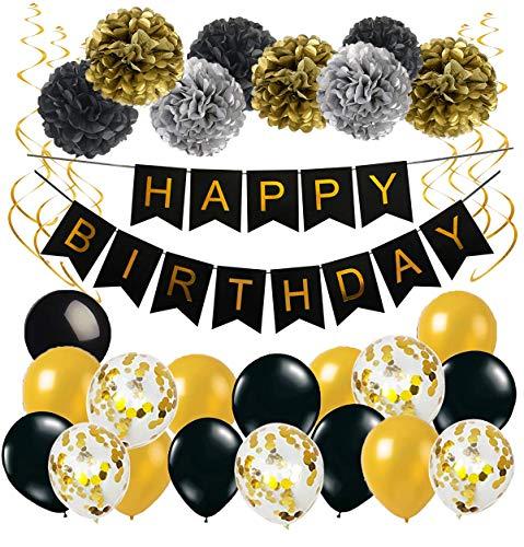 MAKFORT Geburtstag Deko Happy Birthday Girlande Spiralen Deko Pompoms und Luftballons Gold Schwarz mit Gold Konfetti Ballons für Geburtstag Partydeko Set 32 Stück