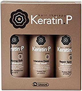 KERATIN P KIT COMPLETO TRATTAMENTO CHERATINICO RISTRUTTURANTE BIACRE' RICOSTRUZIONE CAPELLI SHAMPOO 100ml + MASK 100ml SPR...