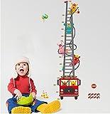 Ufengke Dessin Animé Camion De Pompiers Pompier Toise Stickers Muraux, Chambre Des Enfants Pépinière Autocollants...