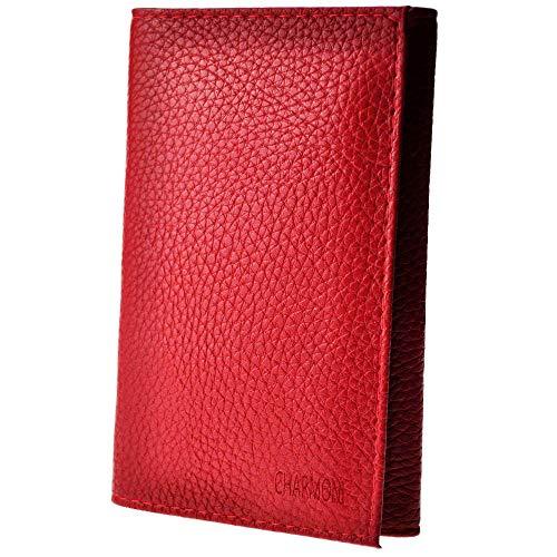 Charmoni - Etui Porte Papiers Voiture Permis de conduire Carte Grise (TU, rouge (cuir))