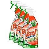 Bref Power gegen Fett & Eingebranntes, Fettlöser, Sprühflasche, für Küche, Kamin und Ofen, (4 x 750 ml)