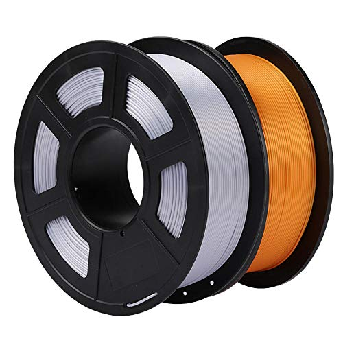 3d Printer Filament 1.75mm, PLA Silk Filament, Shiny Surface, 1kg Gold and 1kg Silver