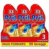 Pril Gold Gel Lavastoviglie Aceto Detersivo - 3 Confezioni da 33 Lavaggi (99 lavaggi)