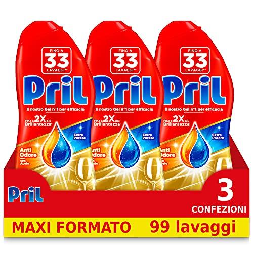Pril Gold Gel, detersivo lavastoviglie in gel, azione Anti odore, con aceto, formato da 3 Confezioni da 33 Lavaggi