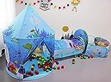 Benebomo Tienda Pop-up para niños 3en1,Carpa y túnel para Carpa Infantil,casita para niños túnel Teatro,Carpa de jardín Grande para niños y niñas,Interior y Exterior,con Bolsa de Transporte(Ocean)