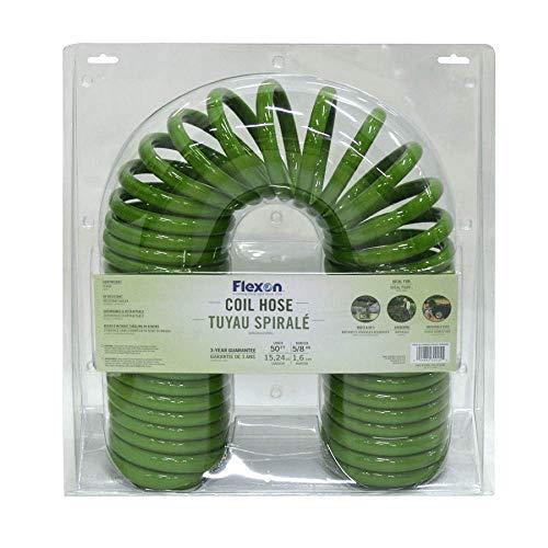 Flexon CH5850 Coil Garden Hose, 50 ft, Green