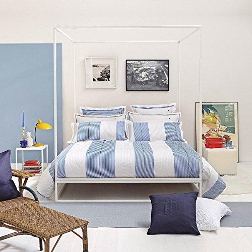 Tommy Hilfiger Juego de cama de percal blanco y azul a rayas, 1 funda nórdica de 155 x 220 cm y 1 funda de almohada de 80 x 80 cm