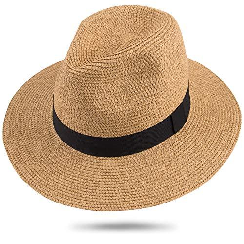 Maylisacc Herren Sommer Panama Strohhut, Urlaub UV Schutz Hut for Sommer Strand Draussen Ferien (Khaki FK)