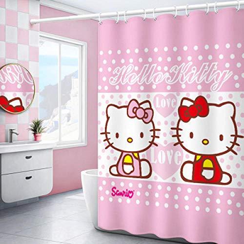 Duschvorhang Hello Kitty Hängende Vorhang WC Trennwand Vorhang Bad Wasserdicht-180 x 180 cm