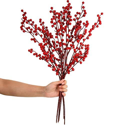 8 Piezas Tallos de Bayas Rojas Artificiales de 23 Pulgadas Ramas de Bayas de Acebo de Navidad para Decoración de Navidad