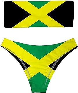 FeHuew Traje de baño de Dos Piezas con la Bandera de Jamaica de Talle Alto, sin Tirantes, para Mujer