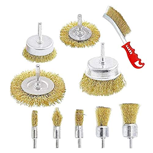 Mogzank 10 Pcs Wire Brush Set, Brass Coated Wire Brushes for Drill Paint Stripper Rust Remover Wire Wheel and Cup Brush Set