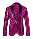 Men's Hot Pink Sequined Nightclub Tuxedo One Button Blazer Jacket Wedding Coat Hot Pink 52 Chest / 46 Waist