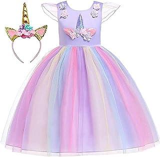 Moonmen Girls Unicorn Costume, Sleeveless Girls Princess Dress Flower Pageant Party Tutu Dresses with Headband