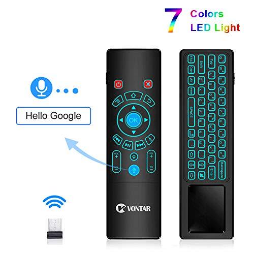 LSQ Sprachfernbedienung, 7 Farben hintergrundbeleuchtung 2,4g drahtlose Fly air Maus Mini Tastatur englisch russisch für tv Box t9 x96 max