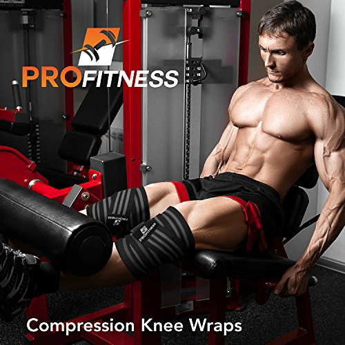 ProFitness Weightlifting Knee Wraps (Pair) – Adjustable Compression Sleeves for Cross Training, Squats, Powerlifting, Weightlifting – Improved Gym Workout Strength & Stability – Unisex (Black/Gray)