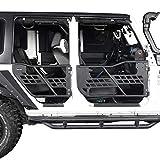Hooke Road Half Doors Front & Rear Tubular Tube Doors Compatible with Jeep Wrangler JK Unlimited 2007-2018 4-Door