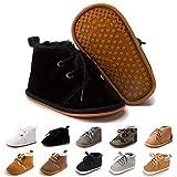 Baby Boys Girls Booties Fleece Anti-Slip Soft Sole Boots Toddler First Walker Warm Shoes Black 11CM