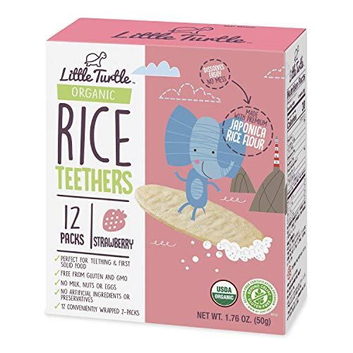 Little Turtle Rice Teethers, Organic Strawberry Flavor, 12 wrapped 2 Pack, 4 Count