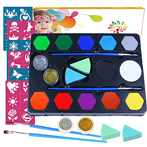 Bowitzki 12 Color Face Paint Kit for Kids Adults Halloween Make Up Kit Rhinestones Stencils 2 Glitter 2 Brushes Professional Face Painting Set for Sensitive Skin Water Based Body Painting Christmas