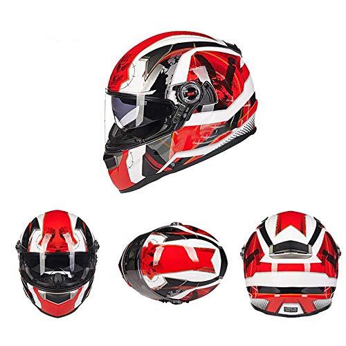 QXFJ Casco Moto,Casco Integral Cascos modulares CertificacióN Dot/ECE FRP Casco Motocicleta Lente Doble con Ajuste Airbag con Bloqueo Lente Casco Motocicleta Gama Alta Blanco Especial