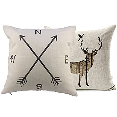 VOGOL Simmias Cotton Linen Throw Pillow Case Cushion Cover, Elk,Nautical Anchor,Set of 2