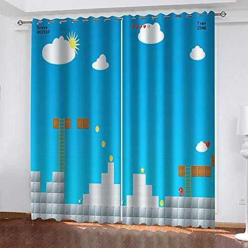 Ageeseso Cortina Opaca 3D Mapa del Juego de Dibujos Animados,Ahorro De Energía Y Reducción De Ruido Adecuado para Dormitorio Sala De Estar Habitación Infantil Cortinas Opacas 2 Paneles 300(W) x280(
