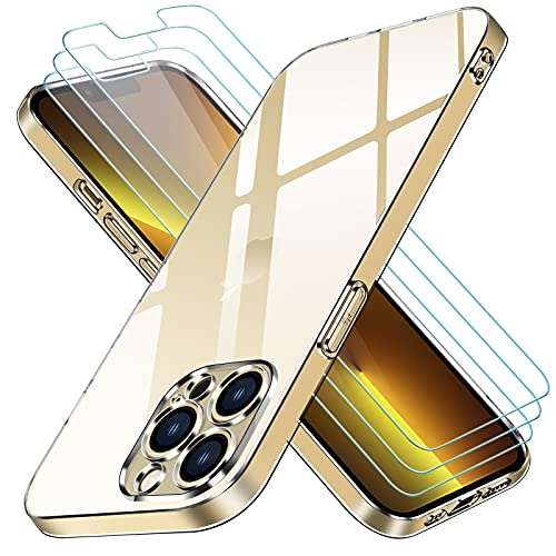 ivoler Funda Compatible con iPhone 13 Pro con Protección de La Cámara, Carcasa Protectora con 3 Piezas Cristal Templado, Transparente Suave TPU Silicona Anti-Choque Caso Delgada Anti-arañazos Case