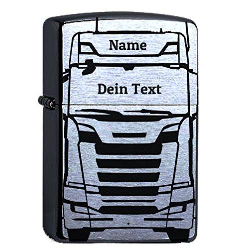elbedruck Zippo mit Wunschgravur LKW, Trucker, Chrome Brushed personalisiert mit Name und Wunschtext Personalisieren