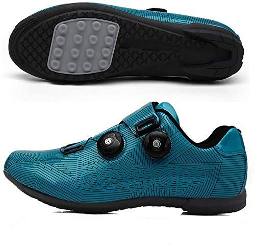 Calzado de Ciclismo Hombre, Zapatillas De Ciclismo MTB para Hombres Y Mujeres Zapatillas Deportivas para Bicicleta Al Aire Libre Zapatillas De Bicicleta Giratorias Profesionales Sin Bloqueo,Blue-44