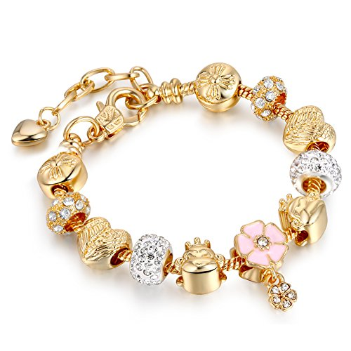 LSENG Bracelets Gold Plated Snake Chain Bracelets Pendant Pink Flower Glass Crystal Beads Charms Bracelets for Women with Fine Gift Box