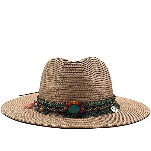Lianaic Sombrero Playa Mujer Gorras de Jazz para Mujer de Verano para Hombres con Sombrero de Paja Ancho Birm Girl, Gorra de Iglesia de Playa para Sol y Playa, Gorros