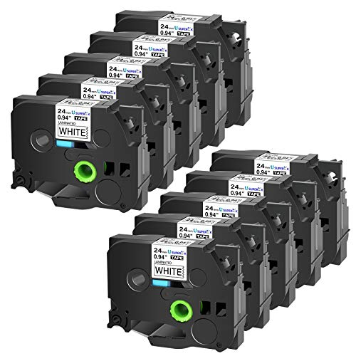 "SuperInk 10PK Compatible for Brother TZ251 TZe251 TZ-251 TZe-251 Label Tape 1"" (24mm)x 26.2ft(8m) Black on White Standard Laminated Tape for Brother P-Touch PT-P700 PT-D600 PT-1400 Label Maker"