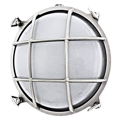 Rota 200 Lampe de bureau ronde en laiton massif étanche, style lampe nautique, lampe industrielle, Nickel mat