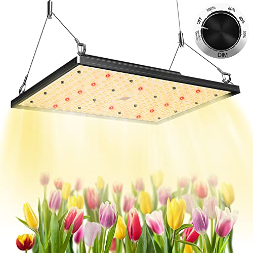 LED Grow Lights, Plant Grow Light with Samsung LED, Sunlike Full Spectrum Grow Light with 3x3ft Coverage for Indoor Plants Seeding, Flowering, Dimmable Grow Lamp for Greenhouse, No Noise