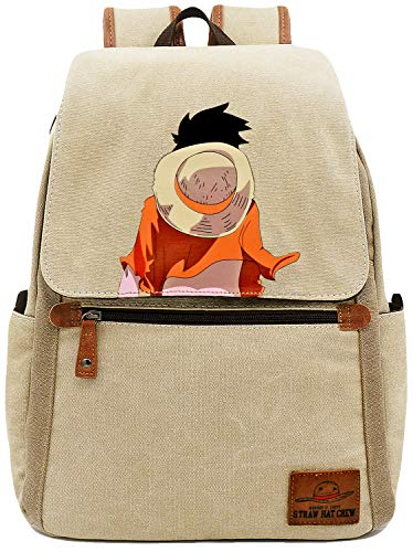 Roffatide Anime One Piece Backpack Cartoon Book Bag Casual Canvas Bag Laptop Back Pack
