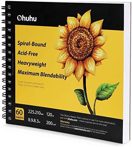 Cuaderno de dibujo artístico Ohuhu, 220×210 mm Tamaño cuadrado, fácil de transportar 200GSM Hojas de dibujo liso, 60hojas/ 120 páginas, encuadernado en espiral, para rotuladores a base de de a