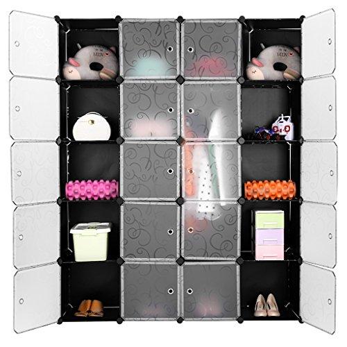 LANGRIA 20 Cubes Penderie Modulable avec Porte,Étagère de Rangement, Garde-Robe de Rangement Portable 1 Tige Suspendue pour vêtements Chaussures,Capacité Cube 4,5 kg (Motif Bouclé Noir Blanc)