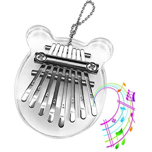 TUOZFLY 8 Key Kalimba Thumb Piano, Mini Portable Finger Piano Mbira Thumb Piano Marimba Musical Instrument Accessory Pendant Best Gift for Kids, Birthday, Children's Day, Beginner, Party Crystal Bear