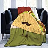 Yuanmeiju Fleece Throw Manta Mexican Taco with Mustached Face Ultra-Soft Manta Decorative Soft Warm Cozy Flannel Plush Throws Mantas Durable Bed Couch For Kids Adults 80'x60'