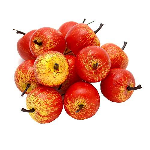 12 x Deko Äpfel klein 3,5cm, gelb/rot/orange matt, künstlich, Früchte/TOP
