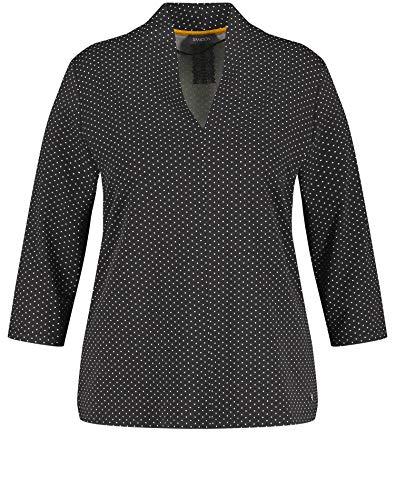 Samoon Damen 3/4 Arm Shirt Mit Punkte-Allover Figurumspielend Black Gemustert 48